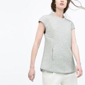 Zara Woman Neoprene Gray Shirt Medium NWT